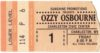 1986 Ozzy Osbourne and Metallica ticket stub Charleston Civic Center