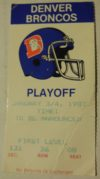 1987 AFC Playoffs Patriots at Broncos ticket stub