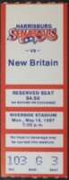 1987 Harrisburg Senators ticket stub vs New Britain Red Sox