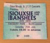 1987 Siouxsie and the Banshees Finsbury Park London ticket stub