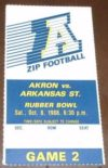 1988 NCAAF Akron ticket stub vs Arkansas State
