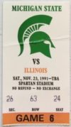 1991 NCAAF Michigan State ticket stub vs Illinois