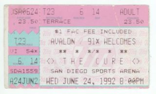 1992 The Cure and the Cranes San Diego Sports Arena Concert Ticket Stub