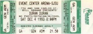 1993 Duran Duran and the Cranberries Concert Ticket San Jose State Events Center