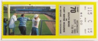 1993 South Bend White Sox ticket stub vs Fort Wayne Wizards