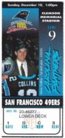 1995 Carolina Panthers Inaugural Season ticket stub vs San Francisco 49ers