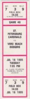 1995 St. Petersburg Cardinals ticket stub vs Vero Beach Dodgers