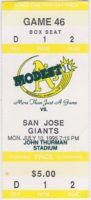 1995 Modesto A's Ticket Stub vs San Jose Giants
