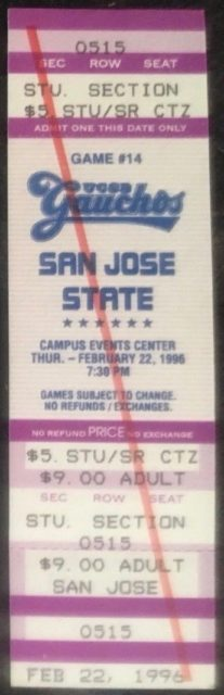 1996 NCAAMB San Jose State at UCSB