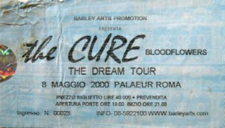 2000 The Cure Ticket Palaeur Rome Italy