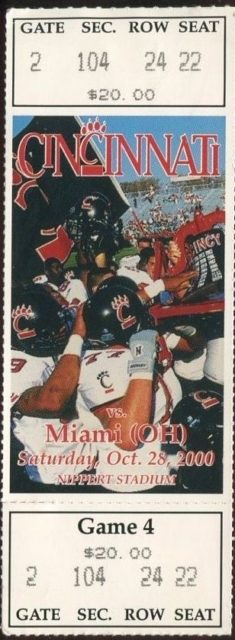 2008 NCAAF Cincinnati ticket vs Miami Ohio