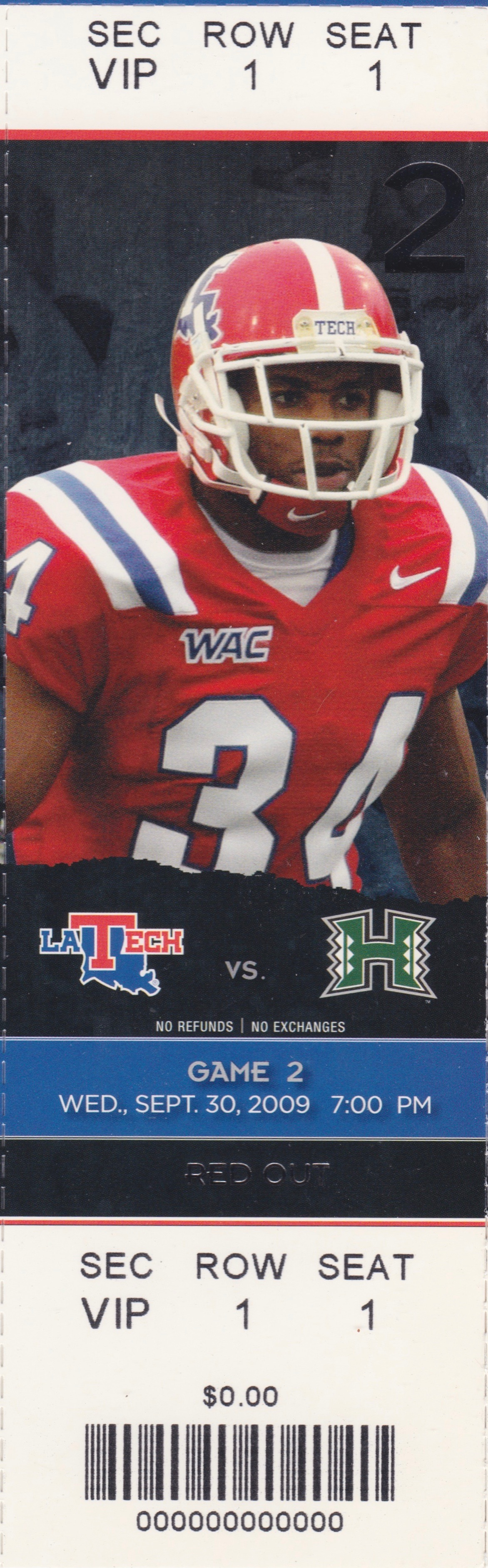 2009 NCAAF Louisiana Tech ticket stub vs Hawaii