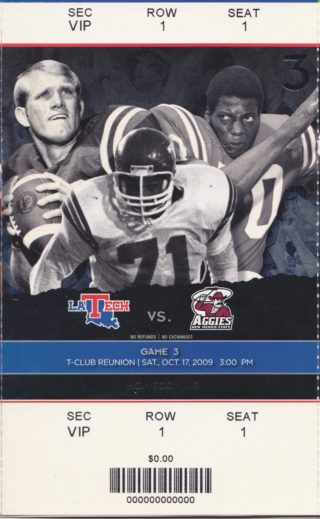 2009 NCAAF Louisiana Tech ticket stub vs New Mexico State