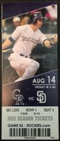 2015 MLB Padres at Rockies ticket stub Matt Kemp hits for Padres' first cycle