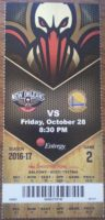 2016 New Orleans Pelicans ticket vs Golden State Warriors
