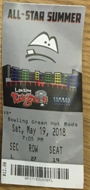 2018 Lansing Lugnuts ticket stub vs Bowling Green Hot Rods