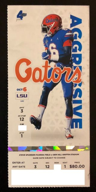 2018 NCAAF Florida Gators Ticket Stub vs LSU