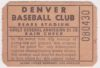 1950's Denver Bears ticket stub