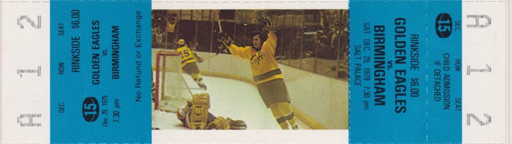 1979 CHL Salt Lake Golden Eagles ticket vs Birmingham