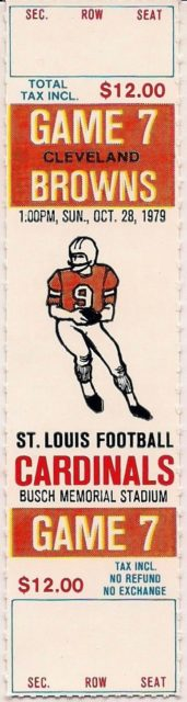 1979 St Louis Cardinals ticket vs Cleveland Browns
