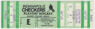 1980 Indianapolis Checkers Playoff ticket stub