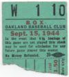 1944 Oakland Oaks Pacific Coast League ticket stub
