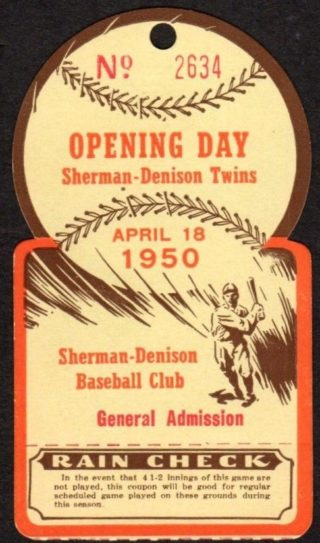1950 Sherman Denison Twins Opening Day Ticket Stub