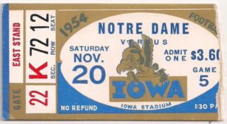 1954 NCAAF Iowa football ticket stub vs Notre Dame
