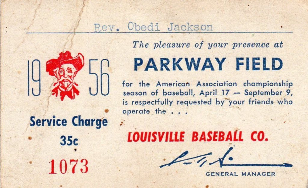 1956 Louisville Colonels Clergy Pass