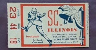 1961 NCAAF USC ticket stub vs Illinois