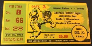 1962 AFL Playoff Game Ticket Stub Dallas Texans vs Houston Oilers