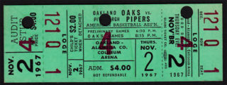 1967 ABA Oakland Oaks unused ticket vs Pittsburgh Pipers