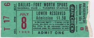 1969 Dallas Fort Worth Spurs ticket stub
