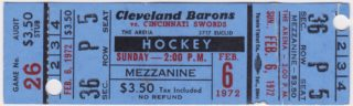 1972 AHL Cleveland Barons full ticket vs Cincinnati Swords