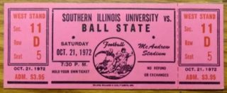 1972 NCAAF Southern Illinois ticket stub vs Ball State