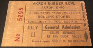 1972 Rolling Stones Ticket Stub Akron Rubber Bowl