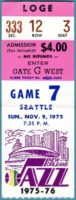 1975 NBA New Orleans Jazz ticket stub vs Seattle Supersonics