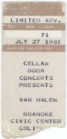 1981 Van Halen ticket stub Roanoke Civic Center