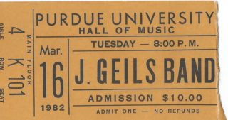 1982 J Geils Band ticket stub West Lafayette