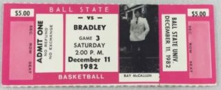 1982 NCAAMB Ball State Basketball Full Ticket vs Bradley