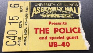 1983 Police and UB40 ticket stub University of Illinois