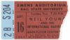1984 Neil Young concert ticket stub Ball State University