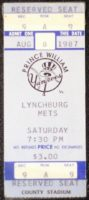 1987 Prince William Yankees vs Lynchburg Mets Ticket Stub