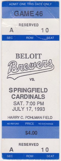 1993 Beloit Brewers ticket stub vs Springfield Cardinals