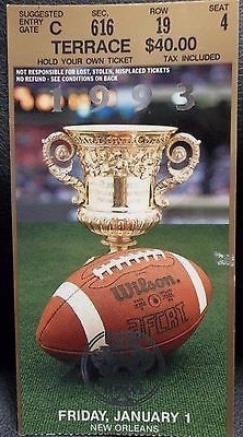 1993 Sugar Bowl Ticket Stub Miami vs Alabama