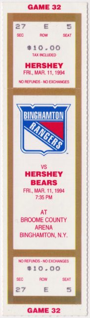 1994 AHL Binghamton Rangers full ticket vs Hershey Bears