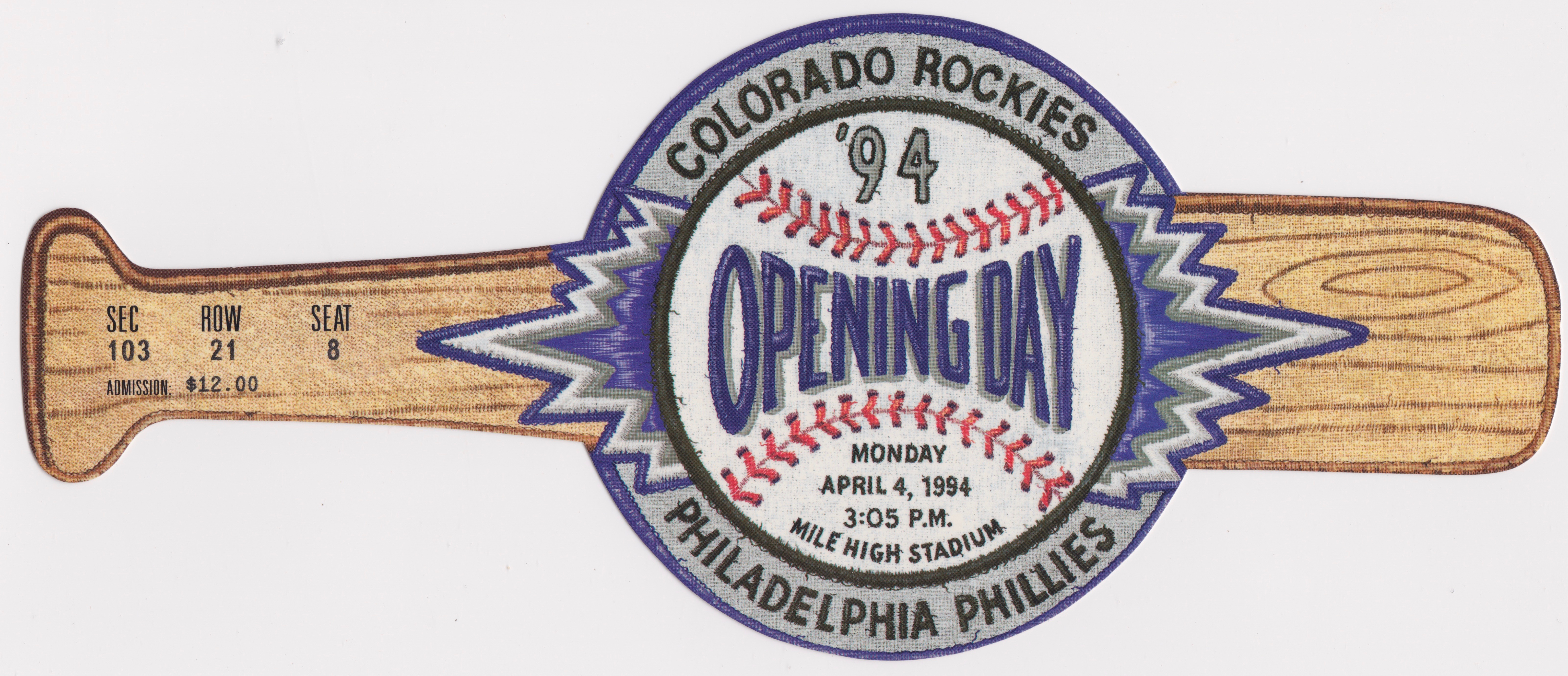 1994 MLB Phillies at Rockies Opening Day Ticket Stub