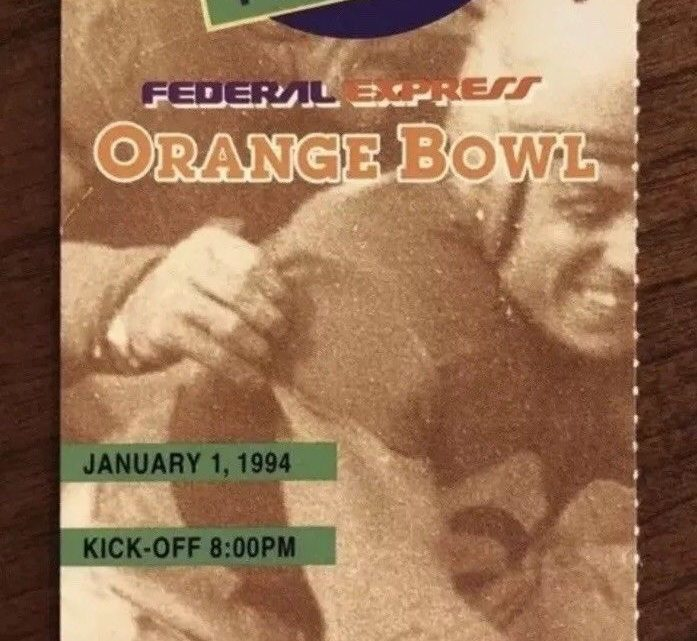 1994 Orange Bowl Ticket Stub Nebraska vs Florida State