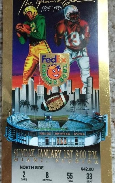 1995 Orange Bowl Ticket Stub Miami vs Nebraska