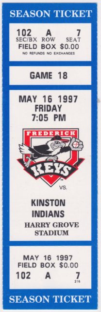 2003 Frederick Keys Season by Baseball Cube Frederick Keys ticket stubs